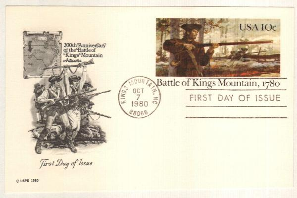 US 1980 10c Kings Mountain Postal Card