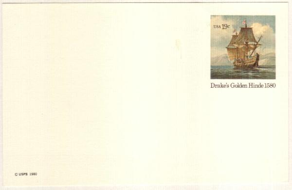 US 1980 19c Golden Hinde Postal Card