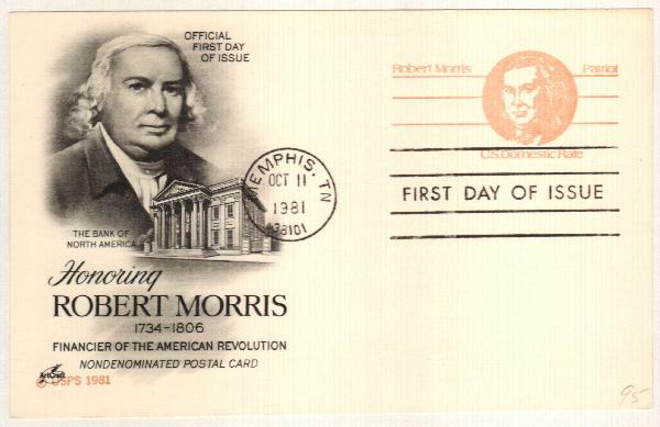 US 1981 Non-denom Robert Morris Postal