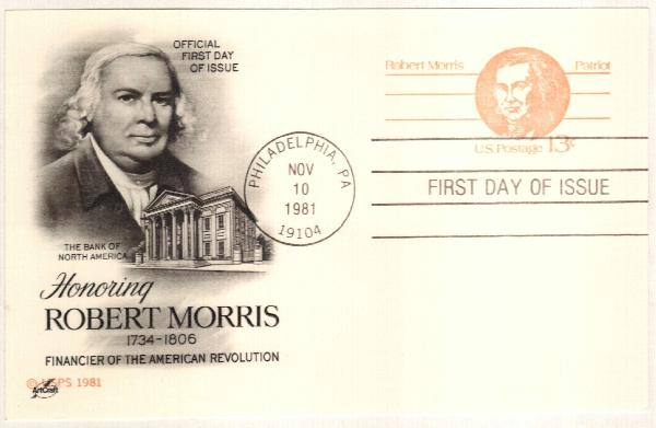 US 1981 13c Robert Morris Postal Card
