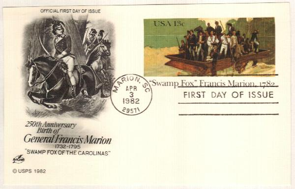 US 1982 13c Francis Marion Postal Card