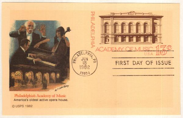 US 1982 13c Academy of Music Postal Card