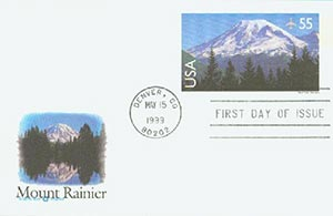 1999 55c Mount Rainier PC FDC