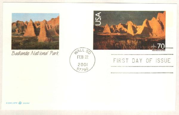 2001 70c Badlands National Park PC FDC