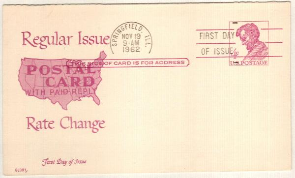 1962 4c Violet Lincoln Reply P/C