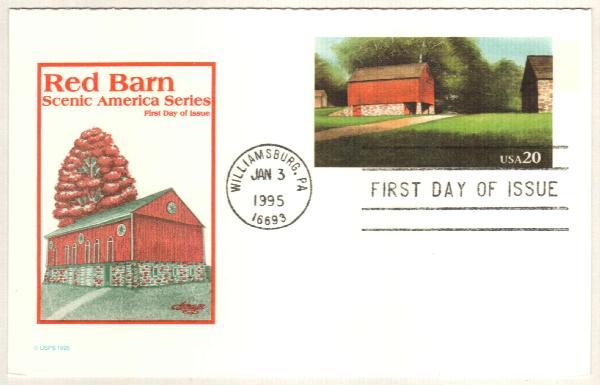 1995 20c Red Barn Postal Card