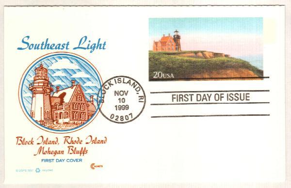 1999 20c Block Island Postal Card