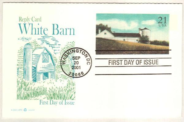 21c+21c White Barn postal card