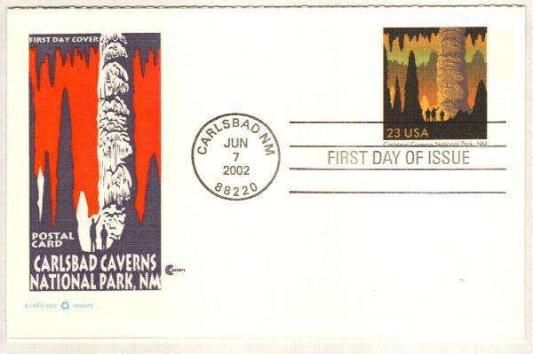 2002 23c Carlsbad Cavern RPC FDC