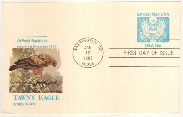 1983-85 13c Official Postal Card, blue