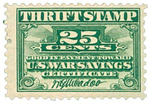 1917 25c War Savings stamp, deep green, unwatermarked