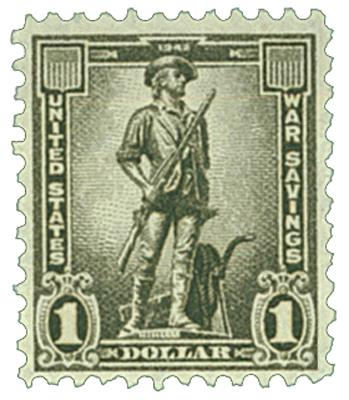 1942 $1 War Savings stamp, gray black, unwatermarked