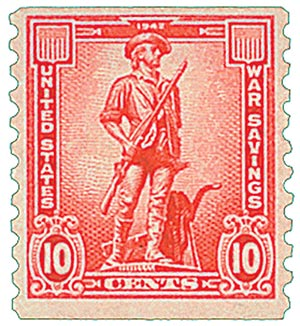 1943 10c War Savings stamp, rose red, unwatermarked