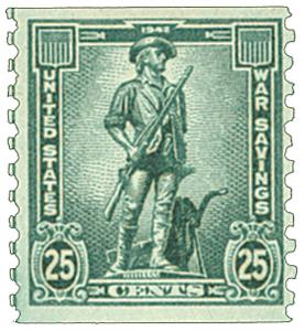 1943 25c War Savings stamp, dark blue-green, unwatermarked