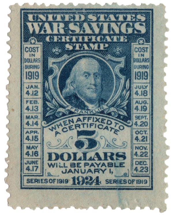 1919(?) $5 Deep Blue War Savings Counterfeit