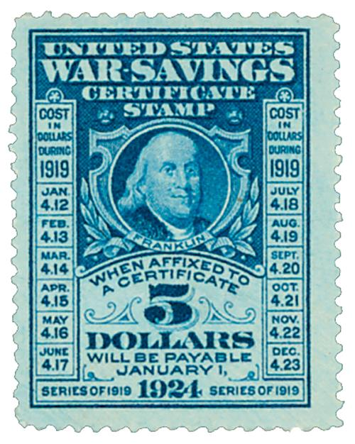 U.S. #WS4 – Issued in 1919, this stamp matured in 1924.