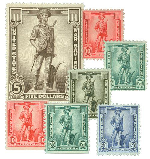U.S. #WS7-13 – The complete set of seven WWII War Savings Stamps.