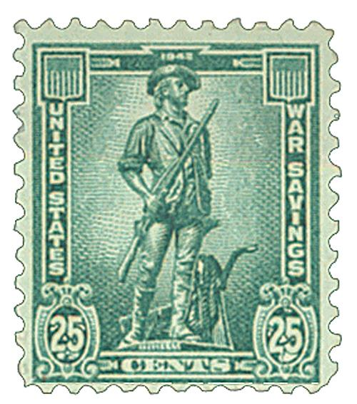 1942 25c War Savings stamp, dark blue-green, unwatermarked