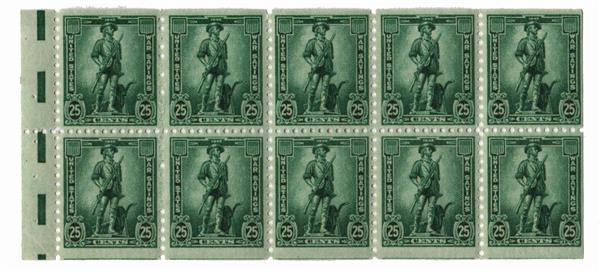 1942 25c War Savings booklet pane, dark blue-green