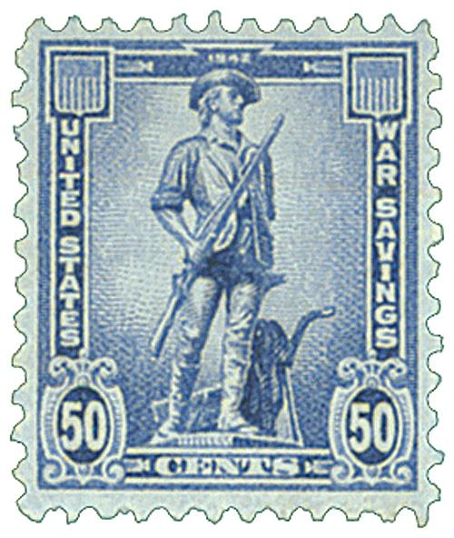 1942 50c War Savings stamp, deep ultramarine, unwatermarked