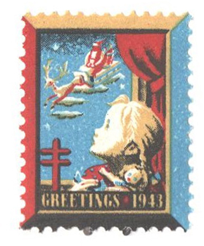 1943 National Tuberculosis Assn. Christmas Seal - perf 12 1/2x 12