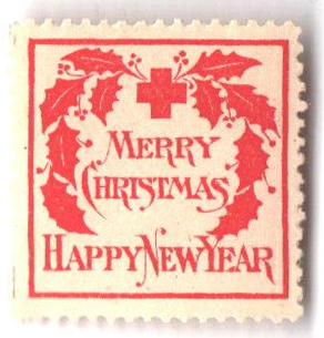 1907 American Red Cross Christmas Seal - Type II - inscribed 'Merry Christmas' & 'Happy New Year'