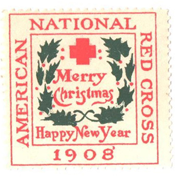 1908 American Red Cross Christmas Seal - Type I, perf 14, smooth gum
