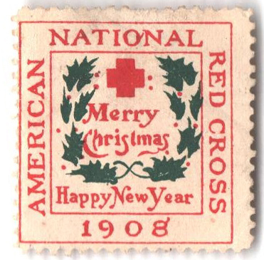 1908 American Red Cross Christmas Seal - Type I, perf 12, smooth gum