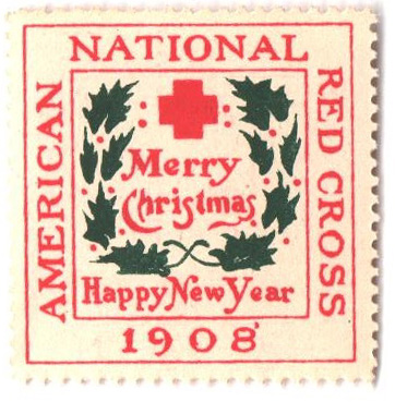 1908 American Red Cross Christmas Seal - Type II, perf 12
