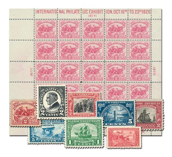 1920-29 Complete Commemorative Decade Set - 32 stamps plus White Plains Souvenir Sheet