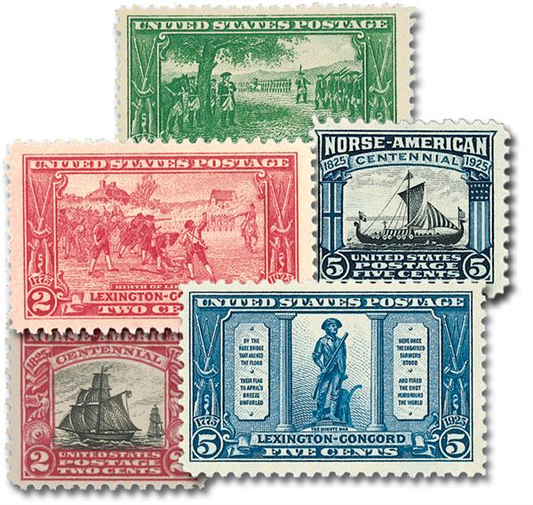 1925 Complete Commemorative Year Set, 5 stamps