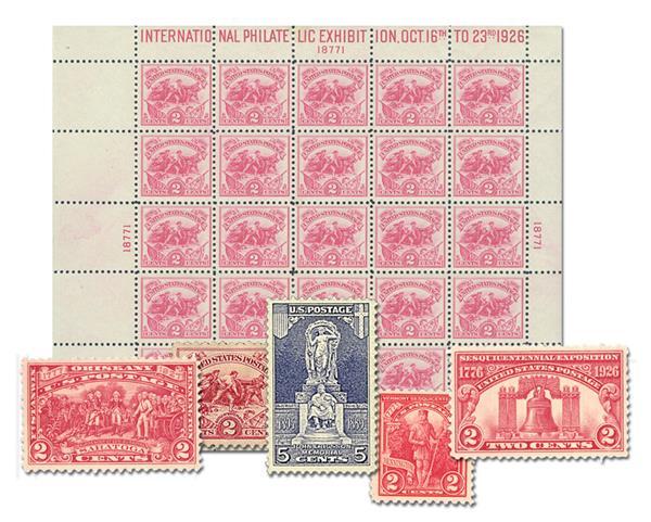 1926-27 Commemorative Stamp Year Set, 5 stamps plus White Plains Souvenir Sheet (#630)
