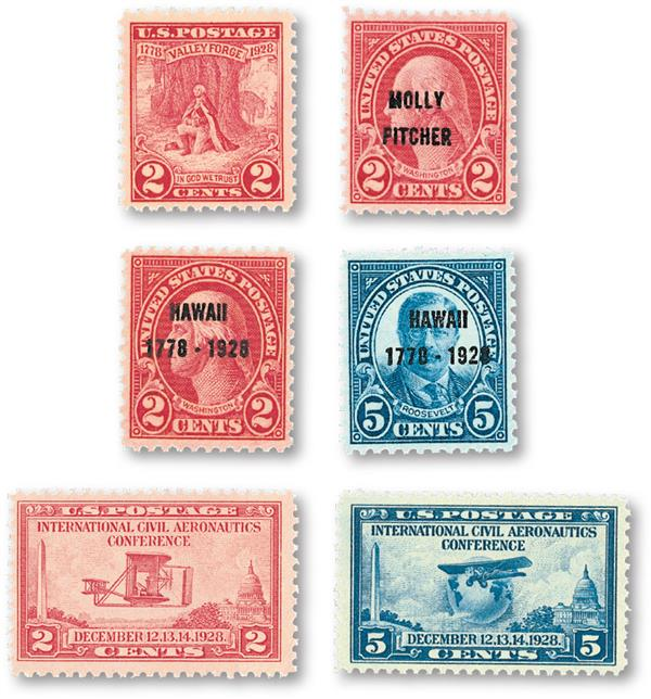 1928 Complete Commemorative Year Set, 6 stamps