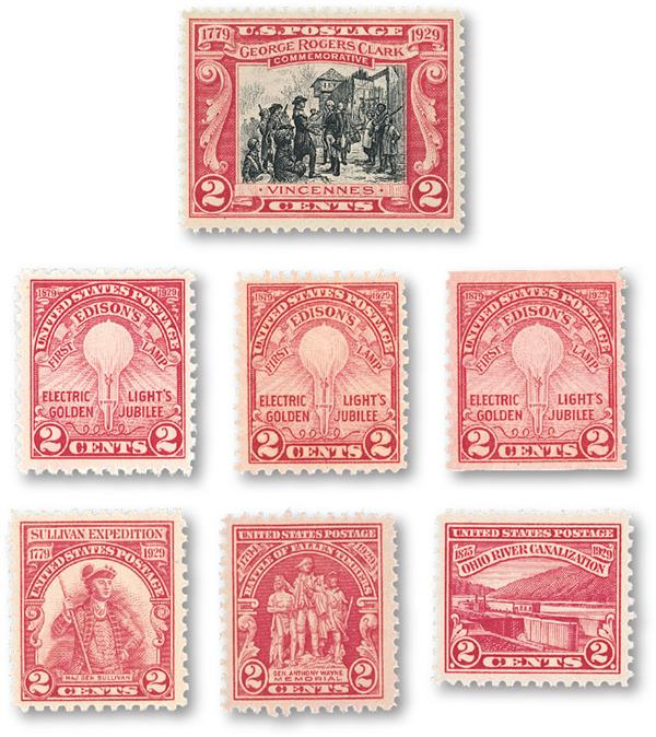 1929 Complete Commemorative Year Set, 7 stamps