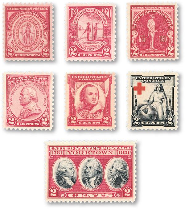 1930-31 Complete Commemorative Year Set, 7 stamps