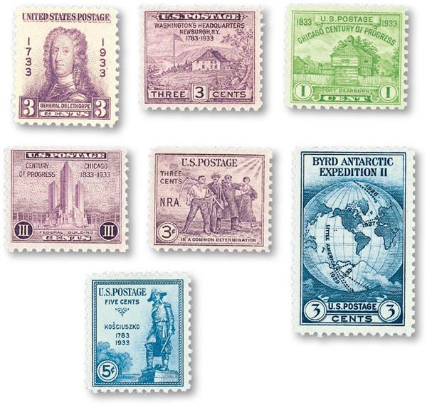 1933 Commemorative Stamp Year Set