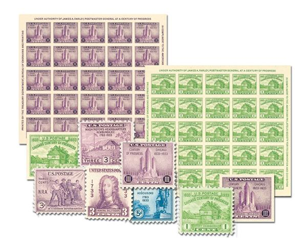 1933 Complete Commemorative Year Set, 9 Stamps and 2 Souvenir Sheets