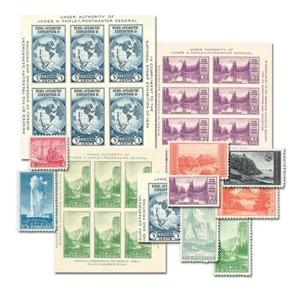 1934 Complete Commemorative Year Set, 17 Stamps and 3 Souvenir Sheets