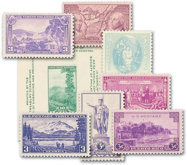 1937 Complete Commemorative Year Set, 8 Stamps