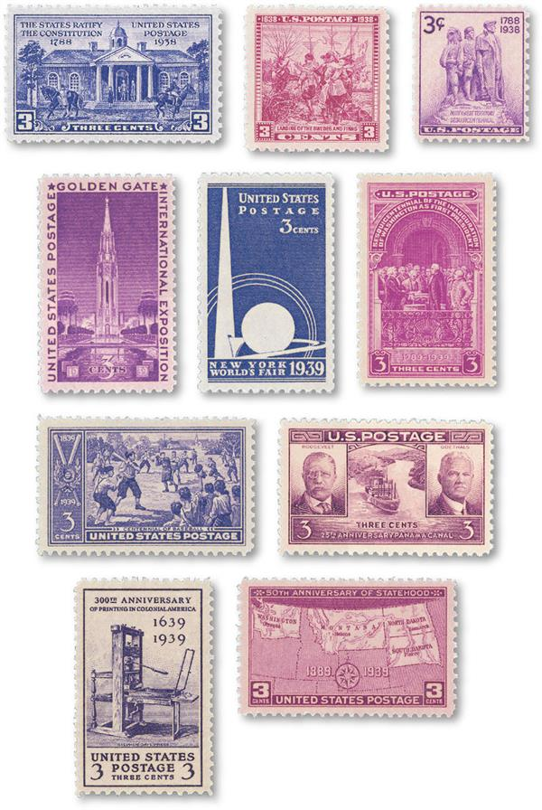 1938-39 Complete Commemorative Year Set, 11 Stamps
