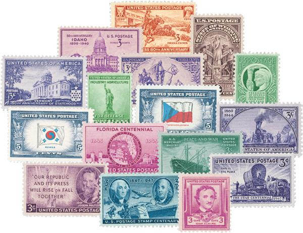 1940-49 Complete Commemorative Decade Set - 129 stamps