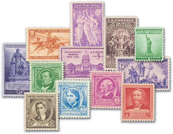 1940 Complete Commemorative Year Set, 44 Stamps