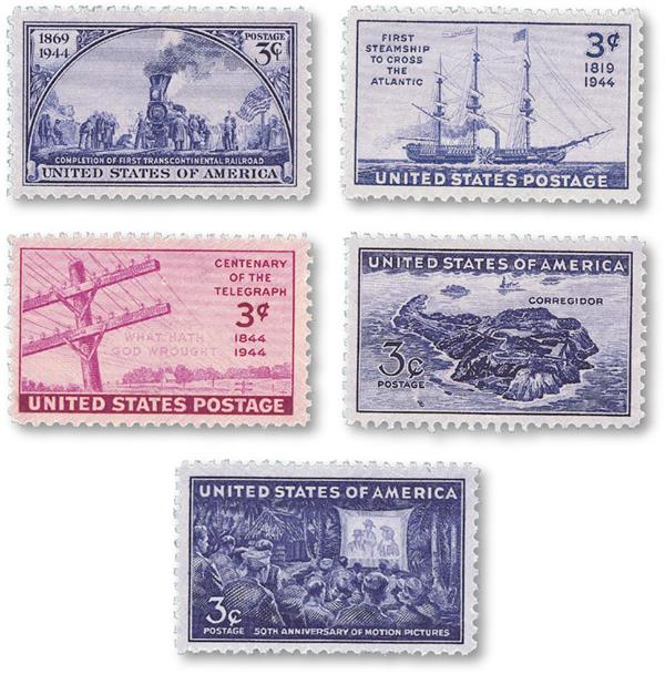 1944 Complete Commemorative Year Set, 5 Stamps