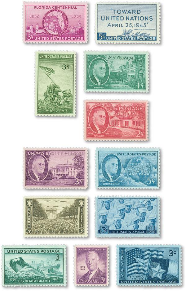 1945 Complete Commemorative Year Set, 12 Stamps