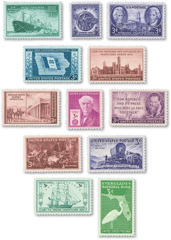 1946-47 Commemorative Stamp Year Set