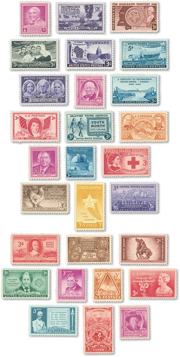 1948 Complete Commemorative Year Set, 28 stamps