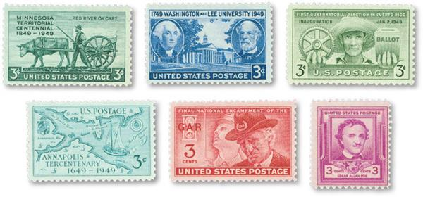 1949 Complete Commemorative Year Set, 6 stamps