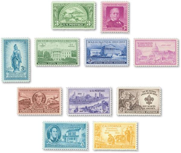 1950 Complete Commemorative Year Set, 11 stamps
