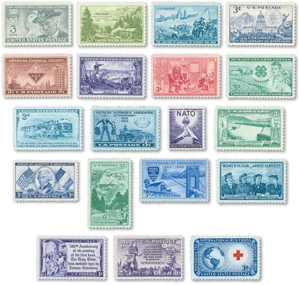 1951-52 Commemorative Stamp Year Set, 19 stamps