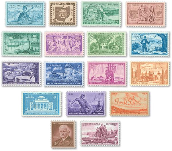 1953-54 Complete Commemorative Year Set, 17 stamps